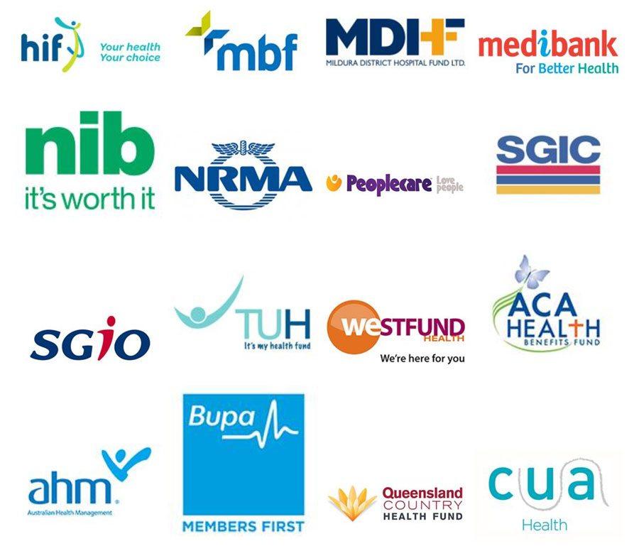 HIF, MBF, MDHF, Medibank, NIB, NRMA, PeopleCare, SGIC, SGIO, TUH, Westfund, ACA Health, AHM, BUPA, Queensland Country Health Fund, CUA Health